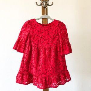 Baby Gap Lace Tiered in Red Dress 12-18months